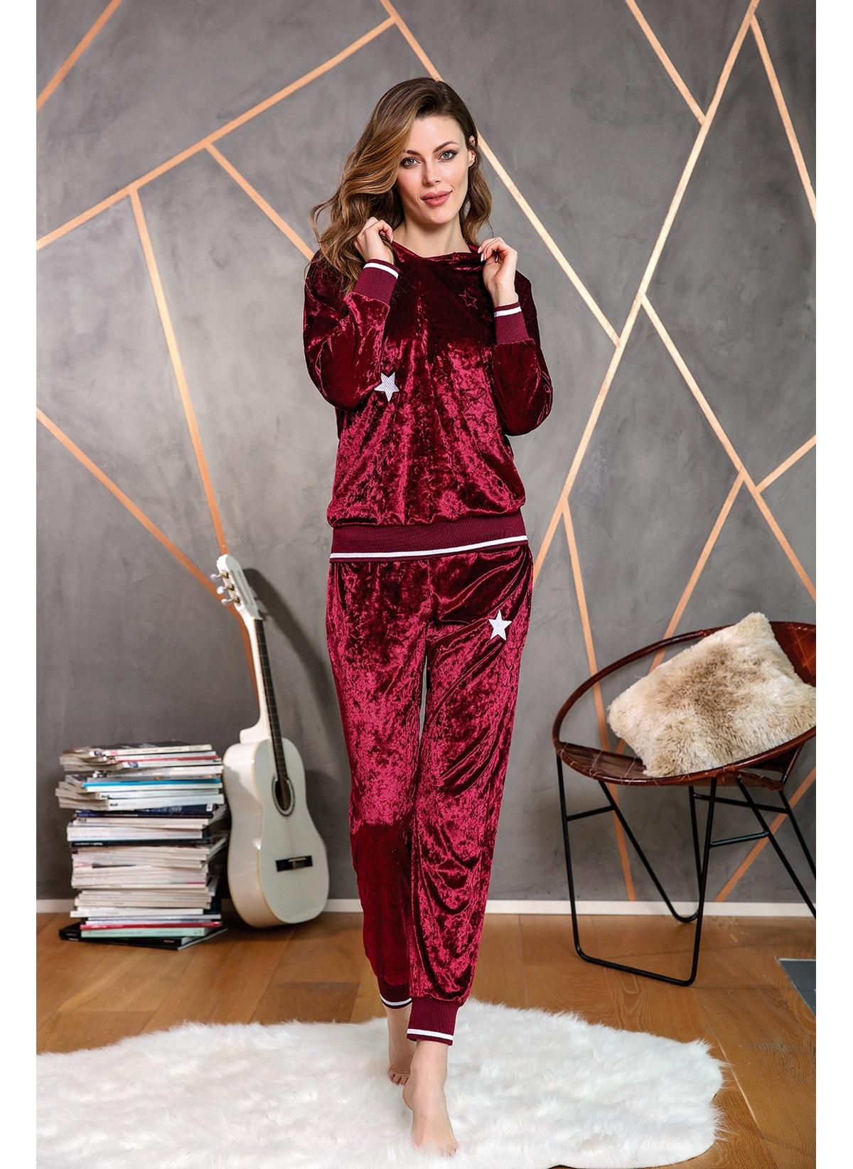 Anıl Kadın Pijama Kışlık Kadife Kapüşonlu Bluz Pantolon 2'li Takım MAN9613 Bilekleri Lastikli Kadife Uzun K
